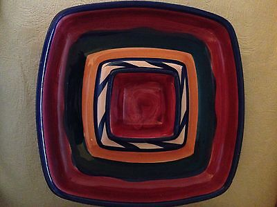 GAIL PITTMAN 1988 Red Azalea Chip & Dip Bowl/Plate/Tray Good Condition