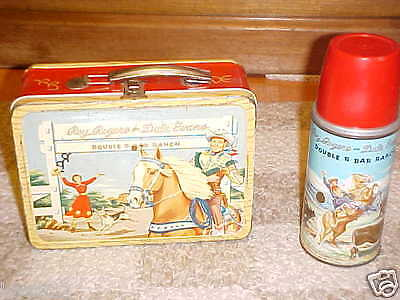 ~Roy Rogers Metal Lunch Box AND Thermos~Red Band~Vintage 1954~Double R Bar Ranch