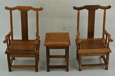 Old Collectible Decorated Wonderful Hand Boxwood Carving A Set Of Chair & TableR