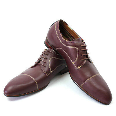 New Men s Wine Ferro Aldo Pointed Cap Toe Leather Lining Dress Shoes Modern  NEW df997881939
