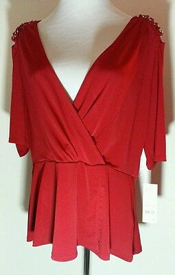 NEW RED WRAP TOP BLOUSE SHIRT 1X 18-20 XL  EXTRA LARGE NWT SHORT SLEEVE 2X 22-24