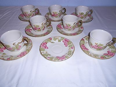 Metlox/Poppytrail Vintage Pink Sculptured Grape Cups and Saucers - USA - 7 Sets