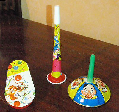 Vintage New Years Noise Makers 3 Metal Toy Holiday Noisemakers USA 1950s NOS