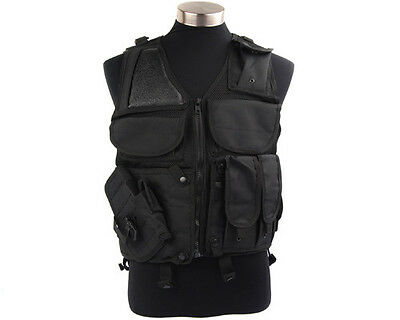 Tactical Military Swat Police Combat Hunting Airsoft Vest w Pistol Holster Black