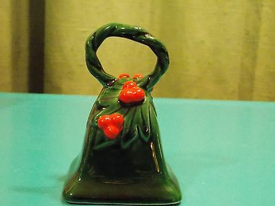 """LEFTON's JAPAN Green Holly w/Berries 3.5"""" Bell #787 w/ red foil stickerVINTAGE"""