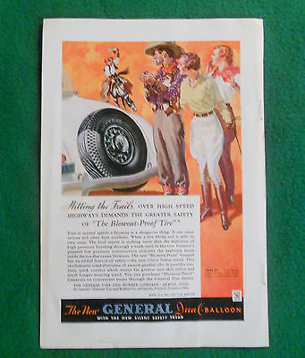 """1934 General Tire Ad From The National Geographic Magazine """"Hitting The Trails"""""""