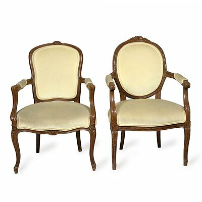 EXQUISITE ANTIQUE PAIR TWO CARVED MAHOGANY FRENCH PROVINCIAL CHAIRS ARMCHAIR SET