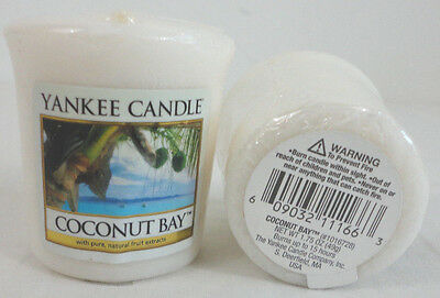 YANKEE CANDLE  COCONUT BAY  2-1.75 OZ VOTIVE CANDLES WRAPPED SOFT COCONUT AROMA