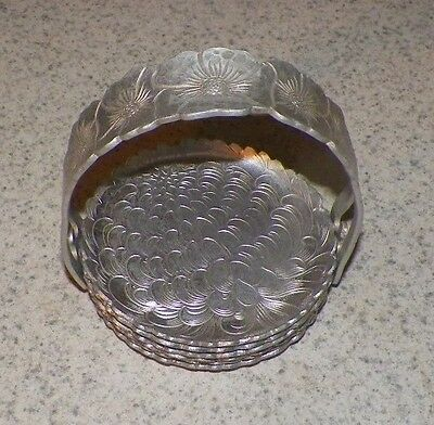 MOD VINTAGE MID CENTURY COASTER SET CONTINENTAL SILVER CO INC WILD ROSE 1001
