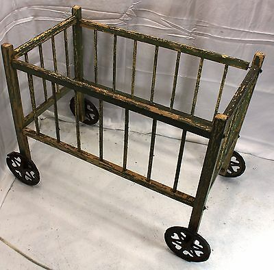 Vintage Antique Crib Wooden Baby Doll Bed Wood Wheels Very OLD