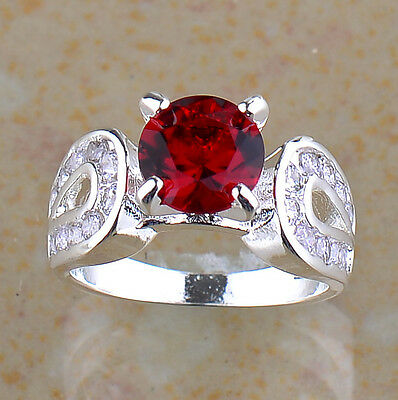 J1357 SIZE 8 FASHION JEWELRY NEW FIRE RED GARNET SILVER RING