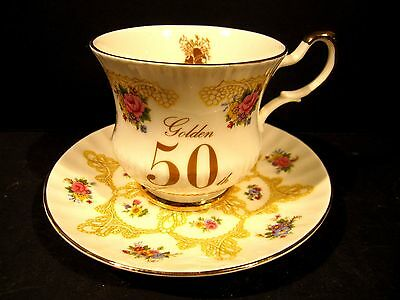Royal Coach Golden Anniversary Queens Cup & Saucer Roses Staffordshire England