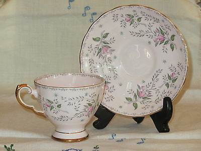 PRETTY PINK TUSCAN ENGLAND CUP AND SAUCER with FLOWERS & BLUE STARBURSTS