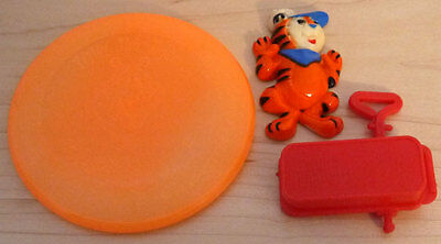 TONY THE TIGER Vintage Cereal Premiums Kelloggs Frosted Flakes Magnet, Frisbee +