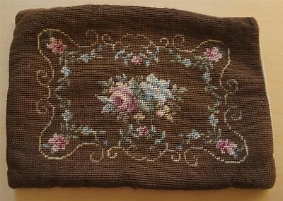 Swedish vintage hand-cross-stitched pillowsham, roses & flowers on brown
