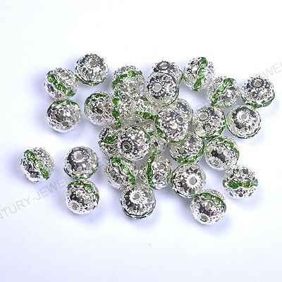 10pcs Green Quality Czech Crystal SILVER PLATED Charms Spacer BEADS 6MM