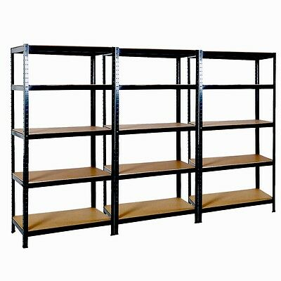 3 Bays of Shelving HEAVY DUTY Garage Racking Workshop Storage Warehouse Boltless