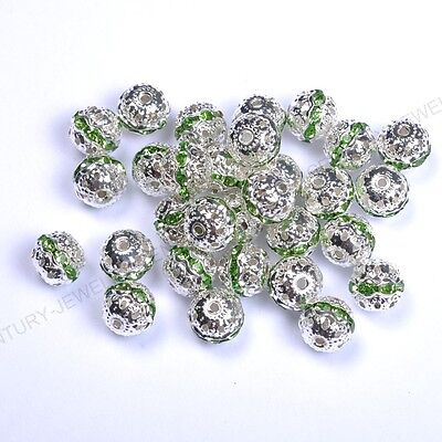 10pcs Green Quality Czech Crystal SILVER PLATED Charms Spacer BEADS 8MM