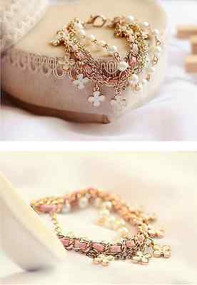 Woman Girls Fashion Four Leaf Clover Charms Alloy Leather Rope Pearl Bracelets