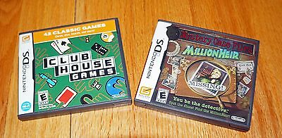 LOT 2 Nintendo DS Clubhouse Games Mystery Case Files Millionheir Adult Owned EUC