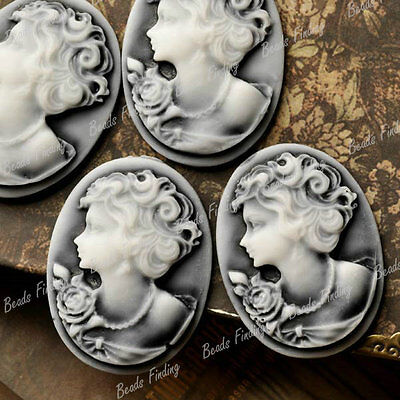 Resin Cabochons 4x 40x30mm Flatback Oval Lady Portrait Cameo Gray RB731 FREESHIP