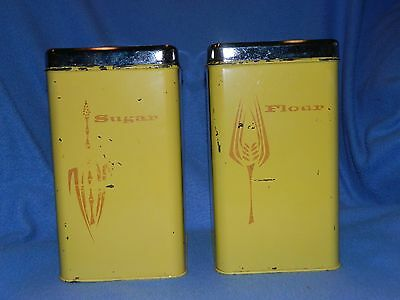Vintage Linoln BeautyWare Flour and Sugar Canisters Yellow