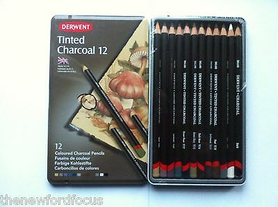 NEW: DERWENT 12 TINTED CHARCOAL COLOURED CHARCOAL PENCILS FOR ART AND DRAWING