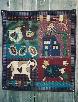 PATTERN Primitive Appliqued Cow Sheep Chicken Wall Quilt UNCUT NEW Memes Quilts