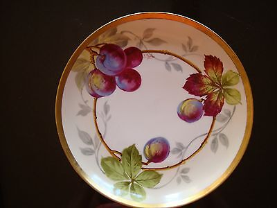 """ANTIQUE HAND PAINTED LIMOGES COIFFE SIGNED """"GOLSE"""" PLATE, PLUMS & GOLD, 8 1/2"""""""