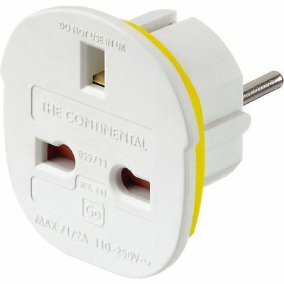 Go Travel - Continental Adaptor - Travel Plug Adaptor - UK Travellers to Europe