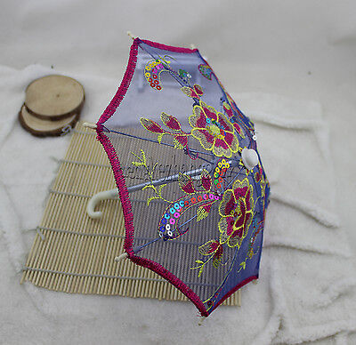 Doll Umbrella fits 18'' American Girl doll blue Embroidery Paillette Bumbershoot
