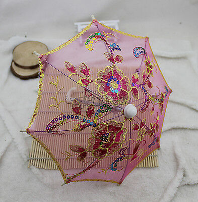 Doll Umbrella fits 18'' American Girl doll pink Embroidery Paillette Bumbershoot