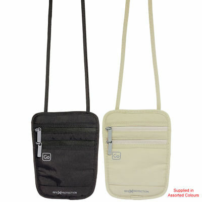 Go Travel - Passport Pouch RFID (Assorted Colours) - Blocking Neck Pouch