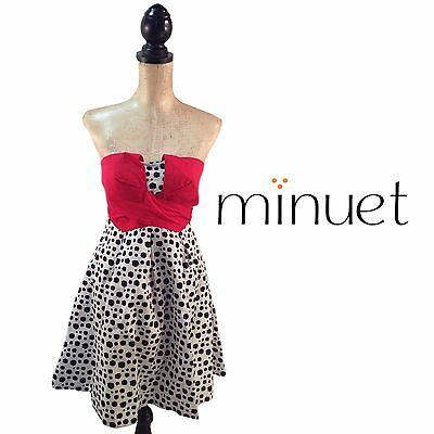 Nwt Minuet Black & White Polka Dot Red Bust Strapless Dress - Small