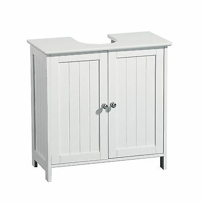 New White Under Sink Basin Cabinet Cupboard Bathroom Furniture Storage Unit