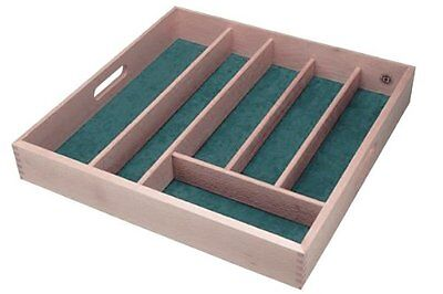 Wooden Lined Cutlery Drawer Tray Storage 6 Sections Compartment Baize Kitchen