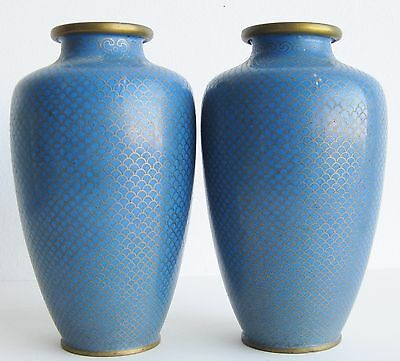 Fine Old Pair of Chinese Cloisonne Blue Fish Scales Motif Scholar's Vases