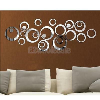 24pcs Circle Mirror Style Removable Decal Art Mural Wall Sticker Home Decor