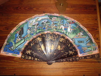 Antique Vintage Chinese 100 Faces? Paper Hand Fan