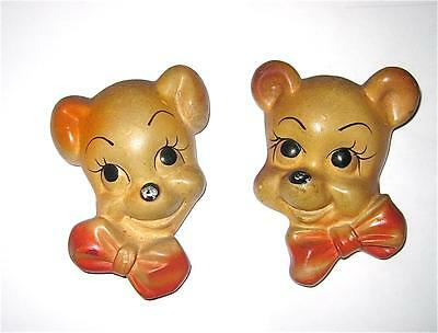 Pair of CUBBY BEARS Chalkware Wall Plaques - 1950's