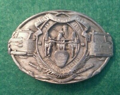 NEW YORK CITY Fire Fighters 1985 Commemorative Belt Buckle Classic Pewter