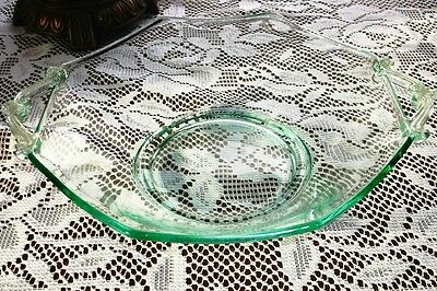 """Green Depression Glass Lancaster Octagon Bowl With Scrolled Handles - 9"""" W"""