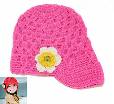 Flower Girls Kids Toddler Baby Handmade Crochet Hat Cap Beanie Photo Prop pink