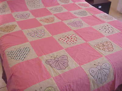 """Vintage All Cotton Beautiful Fabrics BUTTERFLY APPLIQUE Quilt TOP;, 88"""" x 70"""""""