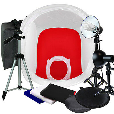"Photo Studio 32""&12"" Photography Light Backdrop Tent In A Box Cube Lighting Kit"