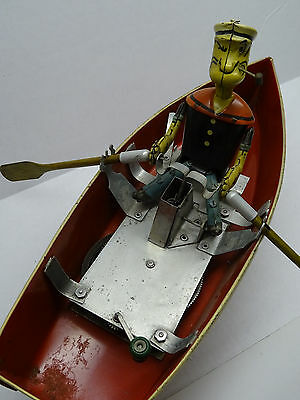 Marx Hoge Popeye Wind Up Tin Toy Rowboat Clockwork Working All Original 1935 A++