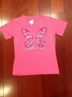 WOMENS BREAST CANCER AWARENESS PINK RIBBON BUTTERFLY HOPE V-NECK TEE Small