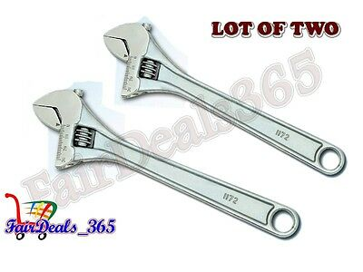 """HIGH QUALITY LOT OF 2 PCS ADJUSTABLE WRENCH SPANNERS CHROME FINISH 6"""" 150MM"""