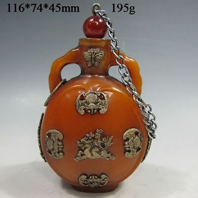 Rare Chinese Old Hand carved Jade inlaid with silver Bat & Dragon snuff bottle