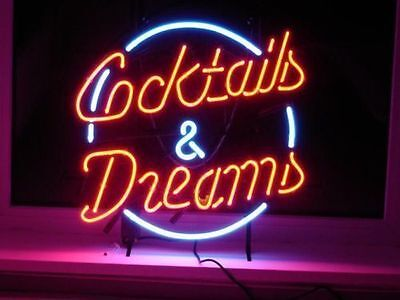 COCKTAILS AND DREAMS LIGHT SIGN REAL NEON GLASS BEER BAR PUB SIGN-RA0011